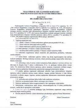 Direktores 2021 m. kovo 19 d. isakymas Nr. 16 V Del darbo organizavimo 248x350